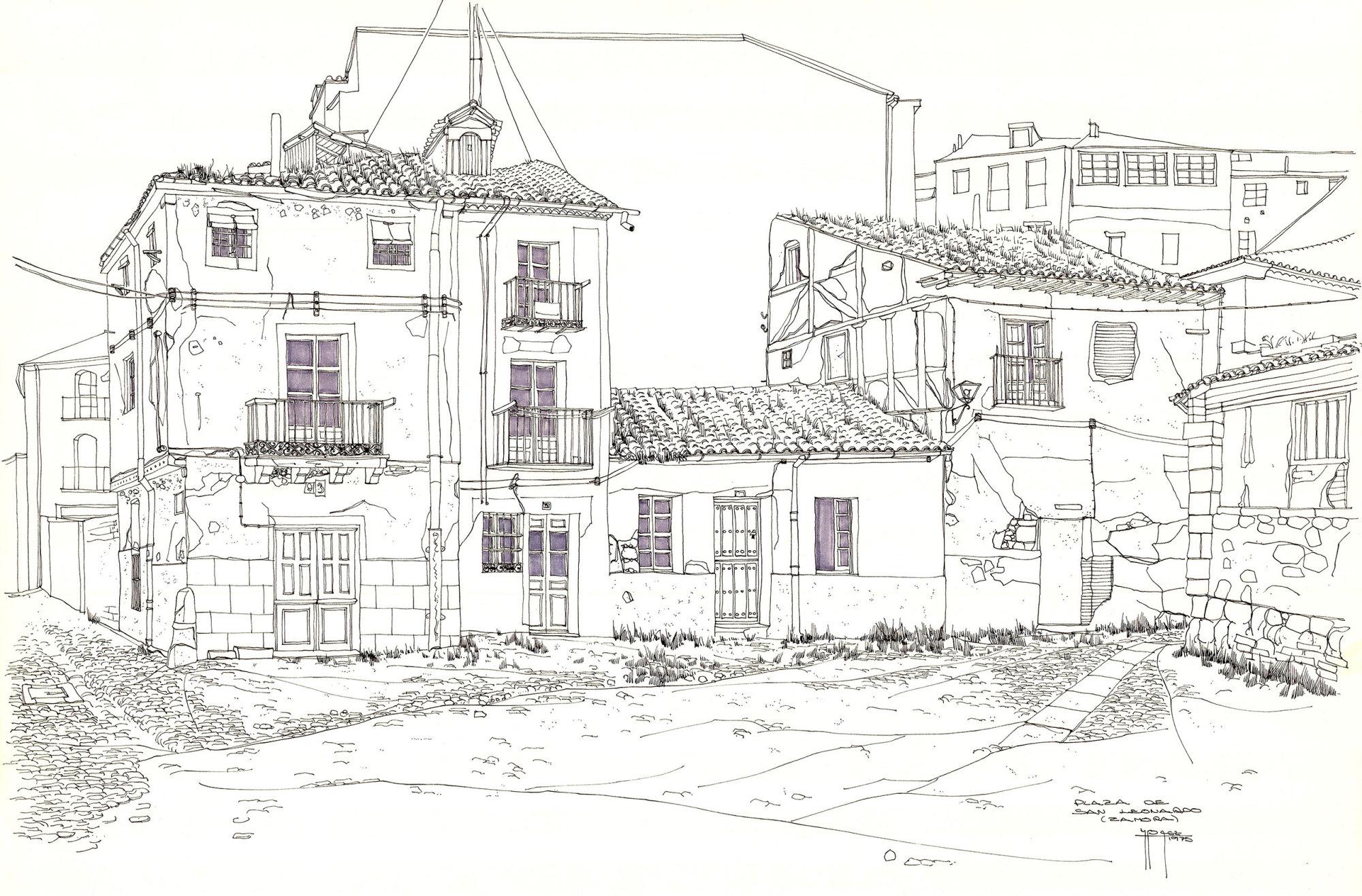 Architecture zamora juan manuel bez mezquita plaza san leonardo zamora ink 50x65 cm malvernweather Image collections